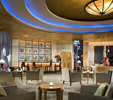 The Living Room Is Open Space Jazz Lounge On Hotels Level 1 At Night Time Place Looks Elegant With Earth Tone And Dark Color Decor