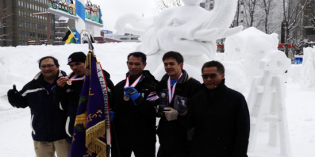 Thailand wins for the fifth time for the International Snow Sculpture Contest at the Sapporo Snow Festival, Japan