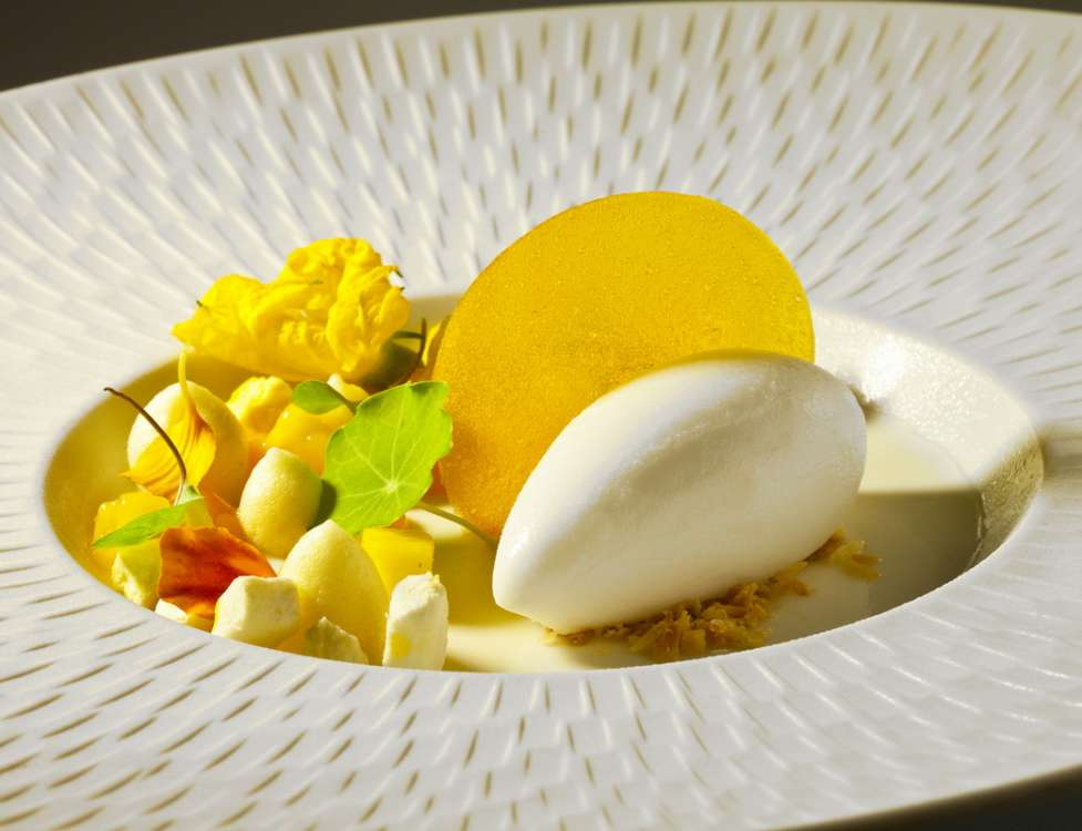 Antonio Bachour_Bal Harbour_Coconut  Panna Cotta with Passion Fruit and Coconut Sorbet_resize
