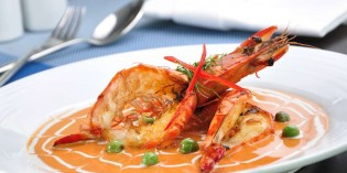 Tiger Prawn Specials at River Barge Restaurant Chatrium Hotel Riverside Bangkok