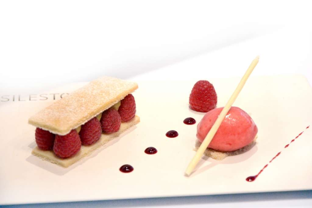 Raspberry-and-vanilla-sable-crame-patisserie-and-raspberry-sorbet