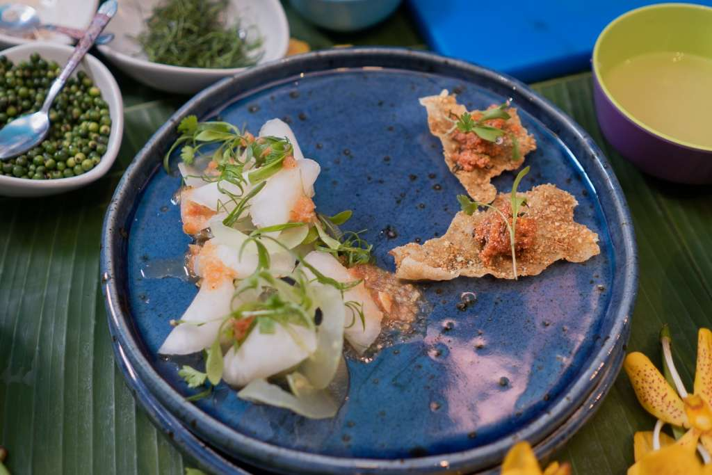 Raw-Cod-Fish-with-Spicy-Marinated-Thai-Herbs-Cod-Crackling-and-Cod-Roes-2